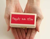 Ring Pillow - Happily ever After Ring Pillow - Wooden Ring Bearer box - Whimsical - Wedding Keepsake Box - Ring Pillow