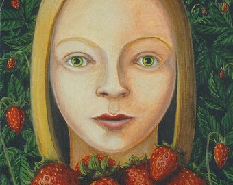 Girl with Strawberries original oil painting framed berry red berries basket kitchen decor strawberry blond still life - Free U.S. shipping