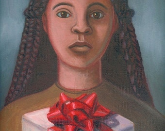 Girl with Gift ORIGINAL PAINTING oil on canvas 12x9 - Free U.S. Shipping