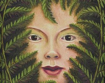 Girl in the Ferns ORIGINAL PAINTING Sheryl Humphrey oil framed 12x9 inches green fronds secret garden plant spirit fae - Free U.S. shipping