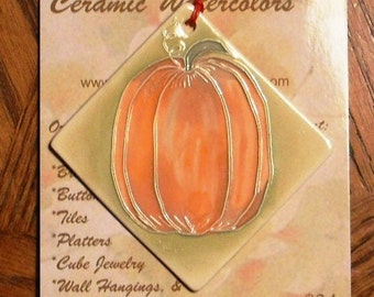 PERFECT as PUMPKIN PIE handmade ceramic-watercolor ornament