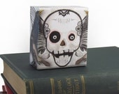 "Day of the Dead Surreal Skull ART BLOCK - ""Midnight Angel"" Desktop Art Block Paperweight Ready To Ship"