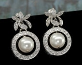 Pearl Drop Earrings, Stud Earring Bridal, Pearl Bridal Earrings, Vintage Style Wedding Jewelry, Wedding Earrings