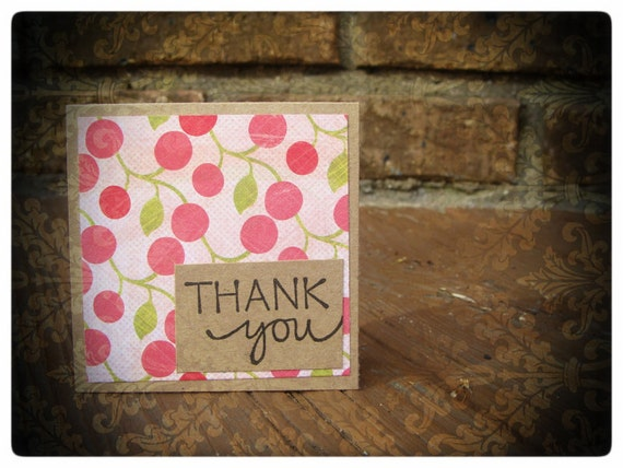 CLEARANCE - 3x3 Mini Thank You Cards - Cherry Bomb - Set of 5