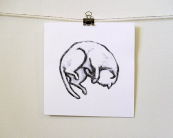 "modern minimal art: ""lounge kitty,"" hand-pressed thermal print"