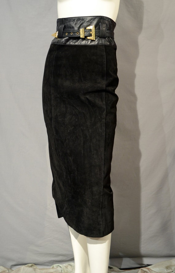 SALE - 80s High Waisted Midi Skirt by Erez Levy - Leather - Tight Pencil Fit - 4 - Small - S