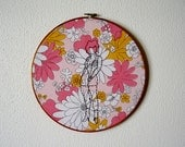 Simone -- original embroidery, pinup art, original art, pin-up, kitsch, feminist, erotica, framed, round, floral -- 100 Ladies #012
