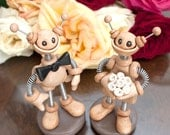 Robot Wedding Cake Topper MADE TO ORDER Neutral Tan Lightly Rustic - Customizable