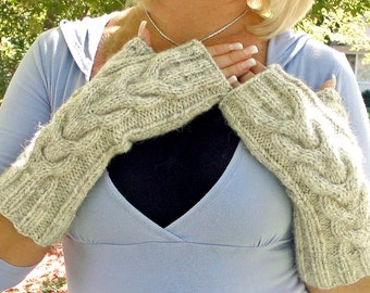 Fingerless Gloves - Long - Off White with Chunky Cable - CREAM of WHEAT HEATHER Oatmeal