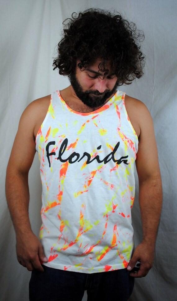 Vintage 80s Paint Splatter Neon Florida Tank Top