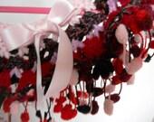 Destock SALE Was 22 - NOW 15 / Girl's Crochet Shoulder Candy / Pompom trim / Bubblegum Pink, Candy Apple Red / One of a kind