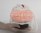 50% OFF at Checkout, use Coupon Code SALE50 **Orange Crush Cupcake Purse / Crochet Handmade / Sherbet Chocolate Cherry / OOAK