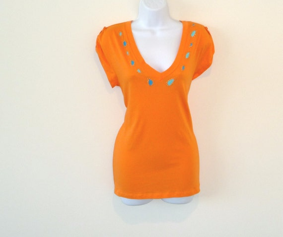 NATALIE - Upcycled - Orange Cotton Jersey - Tee Shirt - Tunic - Sexy Classic - Turquoise Paisley - Sz Medium - UNIQUE - Deep V - Resort