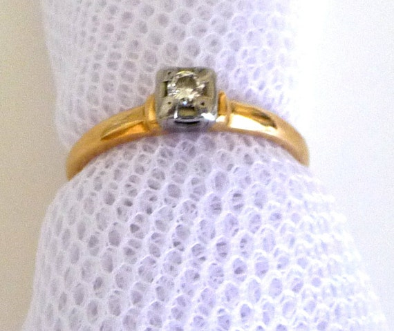 Engagement Ring - 1920s - Diamond - Gatsby - Art Deco - ROSE - Size 6 and One Half - One Tenth Karat - 14 K Gold - Minimalist - Recycled