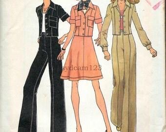 Vintage 1974 Suit Short Jacket Cuffed Sleeves Wide Leg Pants Flared Skirt...Simplicity 6812 Bust 32.5 UNCUT