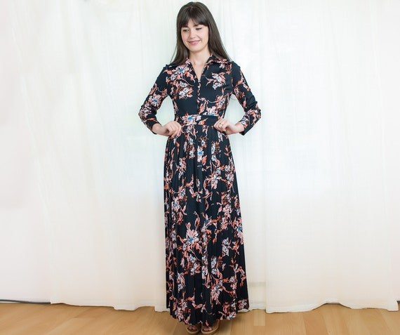 Reserved - Womens Maxi Dress - Vintage 1970s Black Floral Dress in Coral and Turquoise Blue - S
