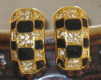 CLEARANCE SALE - Vintage Gold Tone Black Enamel and Rhinestone Clip Earrings (E-1-4)