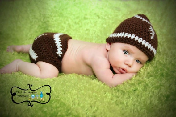 Football Hat And Diaper Cover Photo Prop Sizes Between Newborn to 12 Months You Pick The Colors
