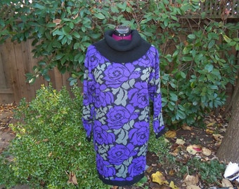 Sweater Dress 1980s Sweater Dress 80s Sweater Dress Body Con Dress Tunic Dress Gitano Dress Black Purple Dress Floral Print Dress Size M