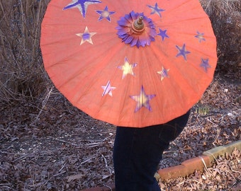 Parasol Orange with Purple Gold Stars Parasol