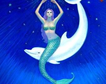 Mermaid art Dolphin Moon sea Goddess fantasy print poster of painting by Sue Halstenberg