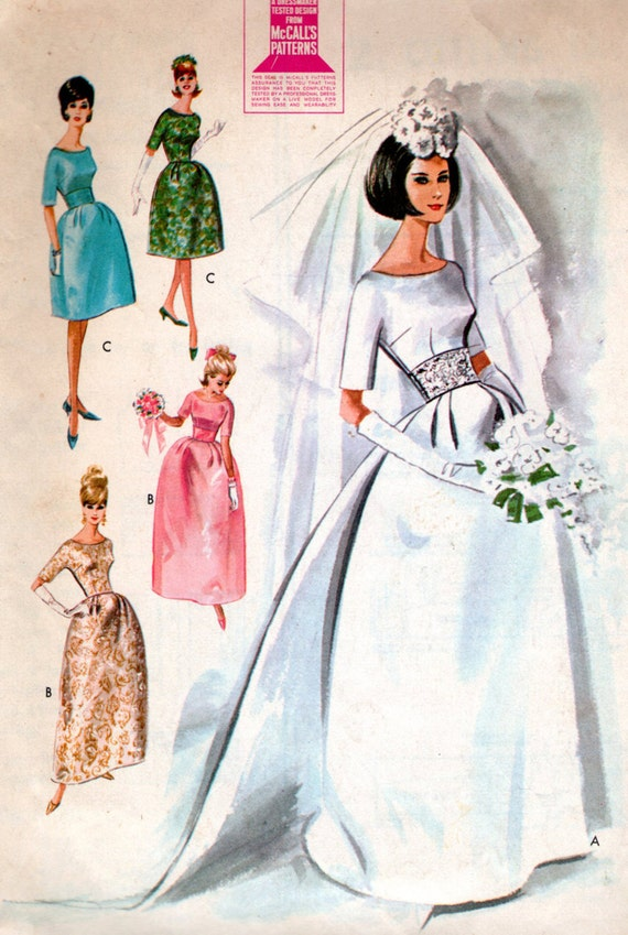 Vintage 60s Evening Dress Pattern Brocade Wedding Gown Silk Bridesmaid Dress McCall's 7091 SALE