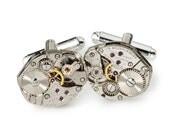 Steampunk Cufflinks Vintage Gruen watch movements wedding anniversary Gift Groom formal silver cuff links men jewelry Steampunk Naton 2299