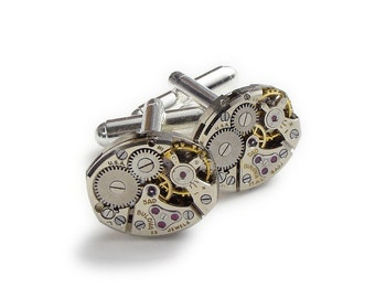 Steampunk Cufflinks Vintage Bulova watch movements gears anniversary wedding Grooms Gift silver cuff links men jewelry Steampunk Nation 2730