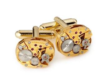 Steampunk Cufflinks Steampunk Jewelry vintage rare Hamilton watch movements wedding anniversary Grooms Gift gold cuff links men jewelry 2724
