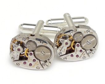 Steampunk cufflinks vintage Hamilton watch movements wedding anniversary Grooms Gift silver cuff links men jewelry by Steampunk Nation 2902