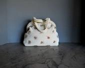 1940s White Beaded Handbag