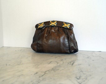 J Tiras Clutch Shoulder Bag // Chocolate Brown Lizard Embossed Leather