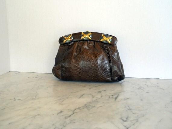 J Tiras Clutch Shoulder Bag // Chocolate Brown Lizard Embossed Leather