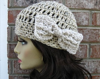 Beanie French HAT Cap Oatmeal with BOW The Perfect GIFT Womens Girls Teens Urban Casual Beanie Skull Cap French Style Fashion