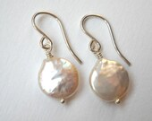 Coin Pearl Earrings - Sterling Silver Dangle Beaded Earrings Bridal Accesories Bridesmaids Maid of Honor Gift Wedding Party