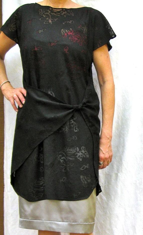 Custom Black Burn Out Dress WRAPS ALL AROUND