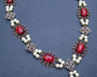 Ruby Red Tudor Inspired Antique Brass Necklace Renaissance Medieval Costume Jewelry