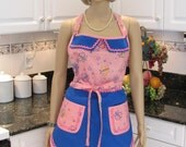Double apron, retro Style Bella Claire,  pink butterfly print, apron front electric blue