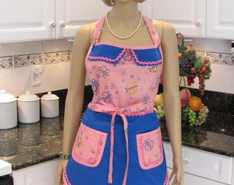 DOUBLE APRON DESIGNER Style :  retro Style Bella Claire,  pink butterfly print, apron front electric blue