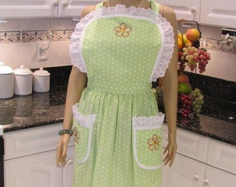 HANDMADE FULL APRON : Woman's, Plus sized, traditional style, lime green with white dots,Floral motif, white eyelet trim