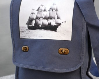 Field Bag - The Volage - Vintage Photograph - Canvas Bag - Denim Blue - Messenger Bag
