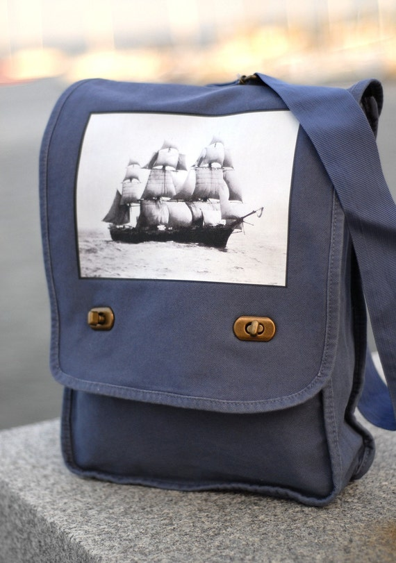 Field Bag - The Volage - Vintage Photograph - Canvas Bag - Denim Blue - Messenger Bag
