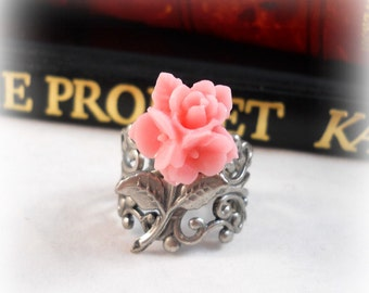 Flower Ring, Soft Pink, Romantic Jewelry Romantic Ring, Victorian Ring, Floral Jewelry, Floral Ring, Pastel Pink, Gift Ideas for Her
