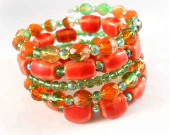 Beaded Bracelet, Orange and Green, Ceramic Bracelet, Chunky Bracelet Set, Memory Wire Bracelet, Coil Bracelet, Womens Gift, Bracelet Stack