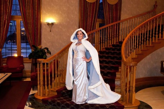 Platinum / White Satin 65 inch Bridal cape with Fur Trim Wedding Cloak Handmade in USA
