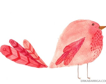 Raspberry Watercolor Bird Print, 5X7, 8X10, Art Print