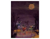 Halloween Greeting Card with Funny Dancing Witches Pumpkins Black Cat Full Moon - Illustration Halloween Witches - 'Pumpkin Harvest Moon'