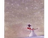 Snowman Card - Christmas Greeting Card Snowman - Snow Winter Landscape Watercolor Painting Print  'Snow Day'