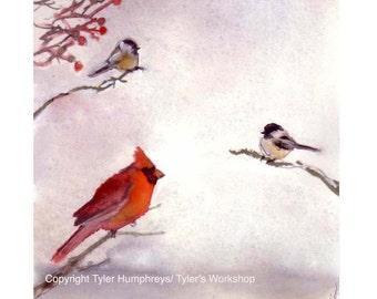 Winter Birds Greeting Card - Cardinal Chickadees Birds Watercolor Winter Illustration Painting Illustration Print - Wild Bird Christmas Card