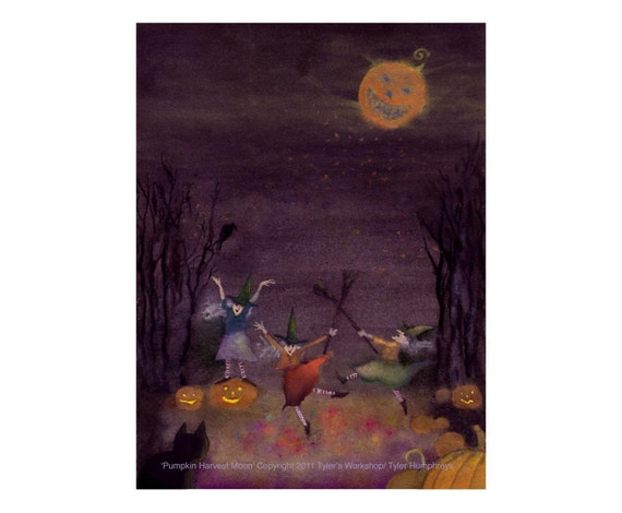 Halloween Card - Dancing Witches Halloween Greeting Card - Pumpkins Black Cat Halloween Witches Illustration 'Pumpkin Harvest Moon'